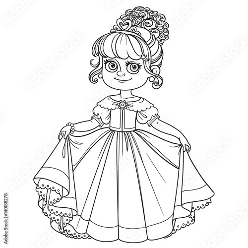 Obraz na plátne Beautiful little princess curtsies outlined for coloring book isolated on white