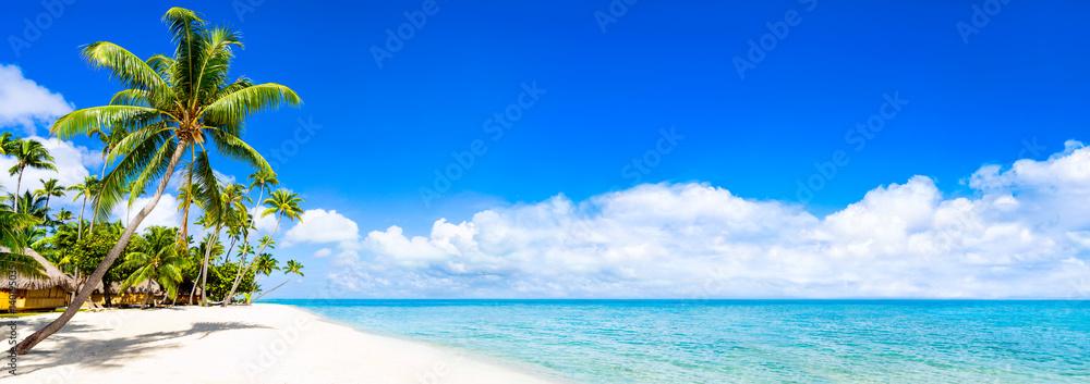 Foto-Schiebegardine Komplettsystem - Strand Panorama mit türkisblauem Meer