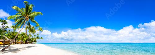 Foto Rollo Basic - Strand Panorama mit türkisblauem Meer