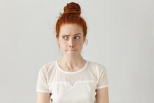 Indoor Shot Of Cute Redhead Gi...