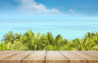 Beautiful beach. View of nice tropical beach with palms. Holiday and vacation concept. Tropical beach.