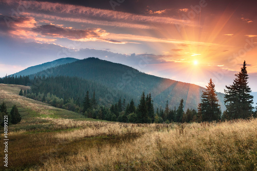 Sunrise above peaks of smoky mountain with the view of forest in the foreground. Dramatic overcast sky.
