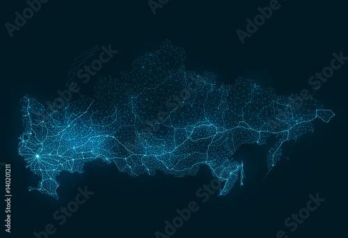 Obraz Abstract Telecommunication Network Map - Russia - fototapety do salonu