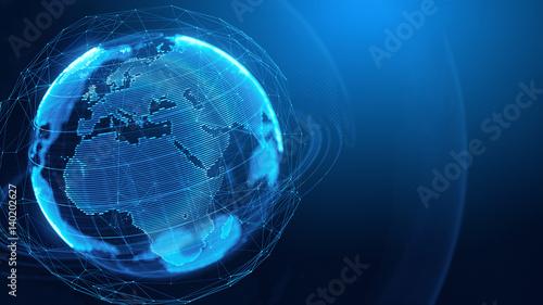 Fototapeta Concept of Global Network, internet communication, media techologies. 3d illustration obraz