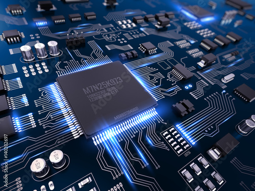 Fotografiet  High tech electronic PCB (Printed circuit board) with processor and microchips
