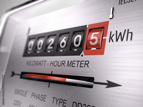Fotografie, Obraz  Kilowatt hour electric meter, power supply meter - closeup view