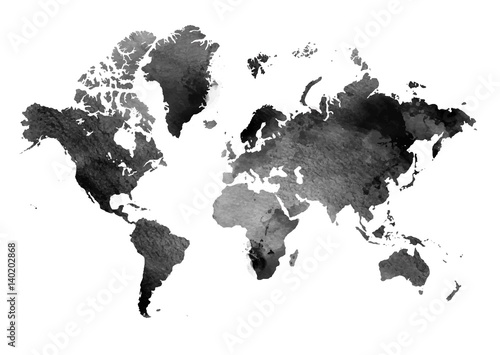 black-and-white-vintage-map-of-the-world-horizontal-background-isolated-object