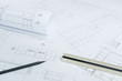 black pencil on architectural drawing paper and rolls for construction