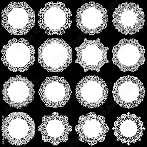 Fényképezés  Large  set of design elements, lace round paper doily, doily to decorate the cak