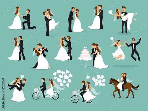 Fotografija wedding couple set, bride and groom dancing, hugging, kissing, riding bike and h