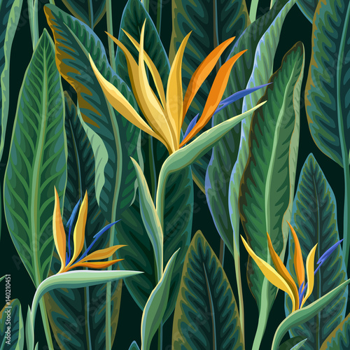 Foto  seamless floral pattern with tropical leaves and flowers