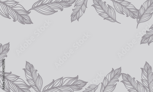Cute background with feathers. Vector card design with border in bohemian style.
