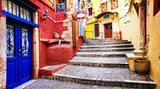 Fototapeta  - Colors of Greece series - vivid streets of old Chania town, Crete island