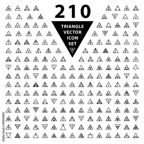 1425edd90 Trendy black linear triangle shape logo design elements. Geometric, minimal  hipster style symbol, sign, monogram, tattoo templates. Vector.
