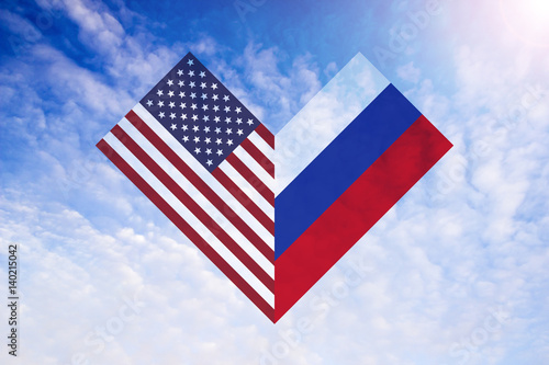 Photo  Combined Russian and American flag in shape of heart