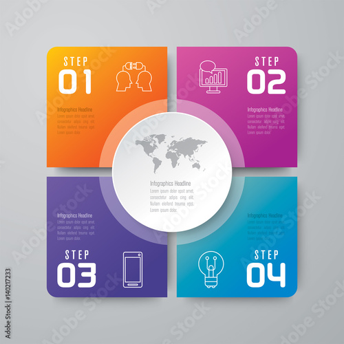 Photo  Infographics design vector and business icons with 4 options.