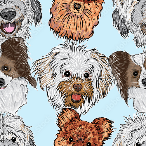 obraz lub plakat Seamless pattern with purebred cute character portrait dogs. Hand drawn vector wallpaper surface texture with small puppy Labradoodle, Collie, Pug, French Bulldog . Friendly doggy endless background.