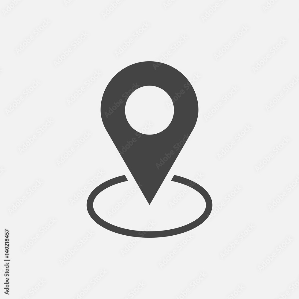 Fototapeta Pin icon vector. Location sign in flat style isolated on white background. Navigation map, gps concept.