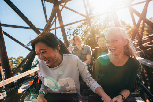 Garden Poster Amusement Park Young people on a thrilling roller coaster ride