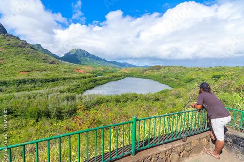 Carta da parati Historic Hawaiian Menehune Fishpond Overlook, Kauai island, Hawaii