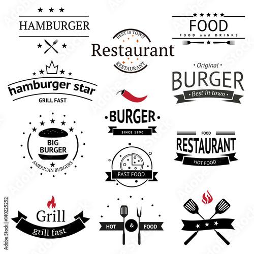 Burger Icons Labels Signs Symbols And Design Elements Vector