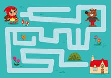 Little Red Riding Hood Maze (Vector Illustration)