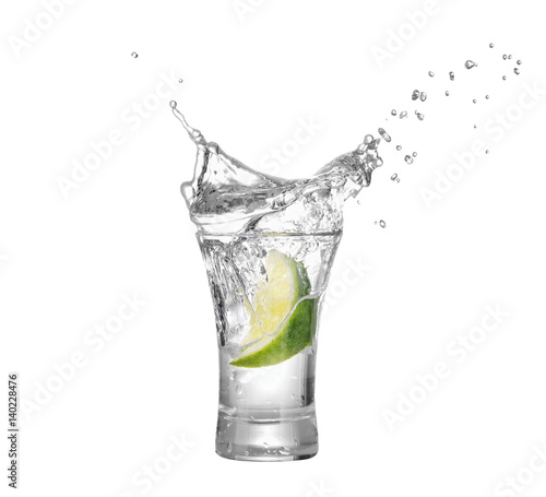 shot of vodka or tequila with lime slice Poster Mural XXL