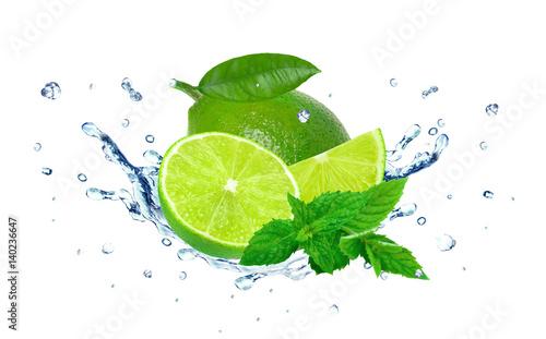 lime water splash islated