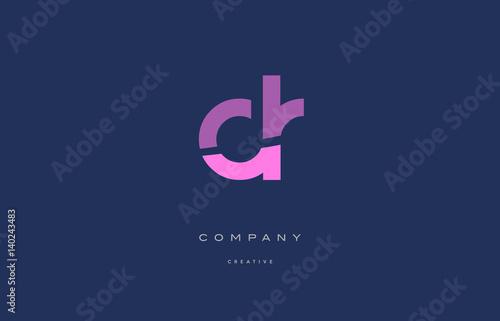 Photo dr d r  pink blue alphabet letter logo icon