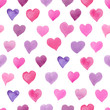 Seamless watercolor pattern with colorful hearts - tints of pink and purple