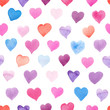 Seamless watercolor pattern with colorful hearts - pink, red, purple, blue tints.