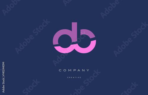Pinturas sobre lienzo  ob o b  pink blue alphabet letter logo icon