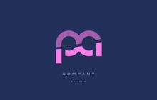 Pa P A  Pink Blue Alphabet Letter Logo Icon