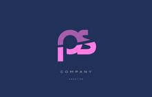 Ps P S  Pink Blue Alphabet Letter Logo Icon