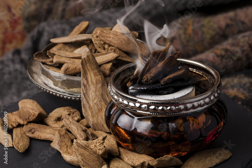 Agarwood, also called aloeswood incense chips Wallpaper Mural