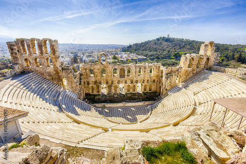 Photo Stands Athens ruins of ancient theater of Herodion Atticus, HDR from 3 photos