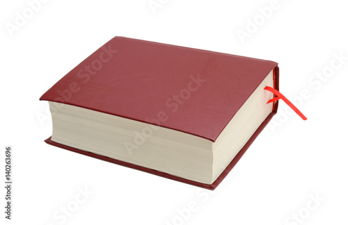 Fotografie, Obraz  Heavy hardcover red book isolated on white background
