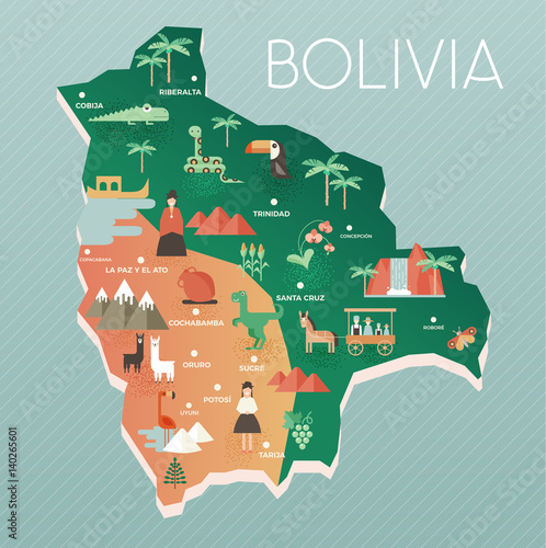 Vector illustration map of Bolivia with nature, animals and ...