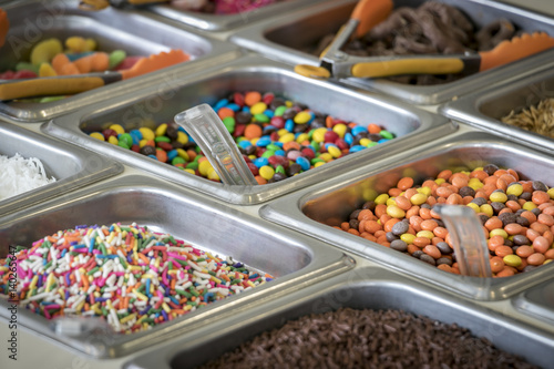 Fotografia  Colorful Candy Ice Cream Toppings