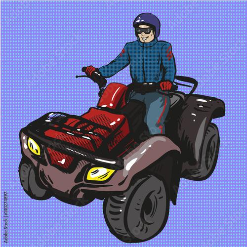 Vector pop art illustration of man riding quad bike