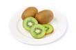 Kiwi fruit in white plate on white background