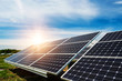 Solar panel, photovoltaic, alternative electricity source - selective focus, copy space