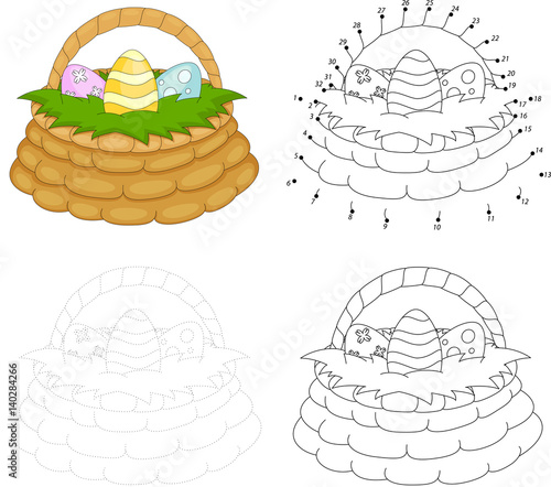 Photo Cartoon basket with Easter eggs. Dot to dot game for kids