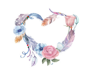Panel Szklany Boho Watercolor floral, feathers heart