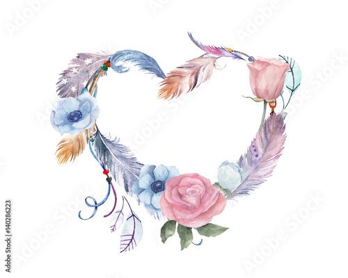 akwarela-kwiatowy-serce-z-pior