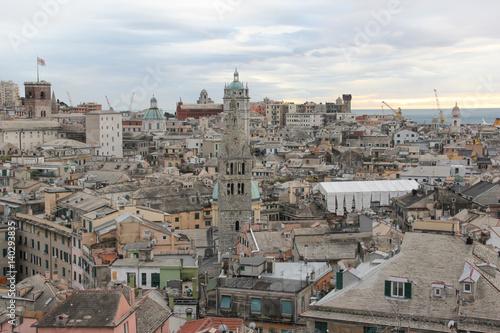 Garden Poster Madrid Veduta dei tetti della città di Genova