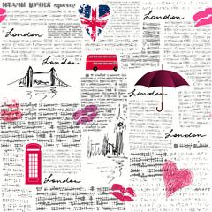 Tapeta Vintage London pattern