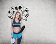 Girl with yoga mat and sport icons