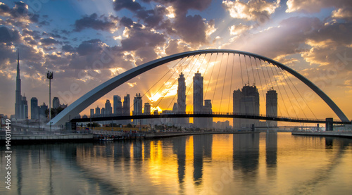 Recess Fitting Dubai Dubai, UAE - March 4, 2017: Magical sunrise over Dubai Downtown as viewed from the Dubai water canal