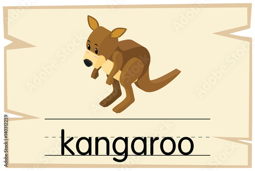 wordcard template for word kangaroo buy this stock vector and